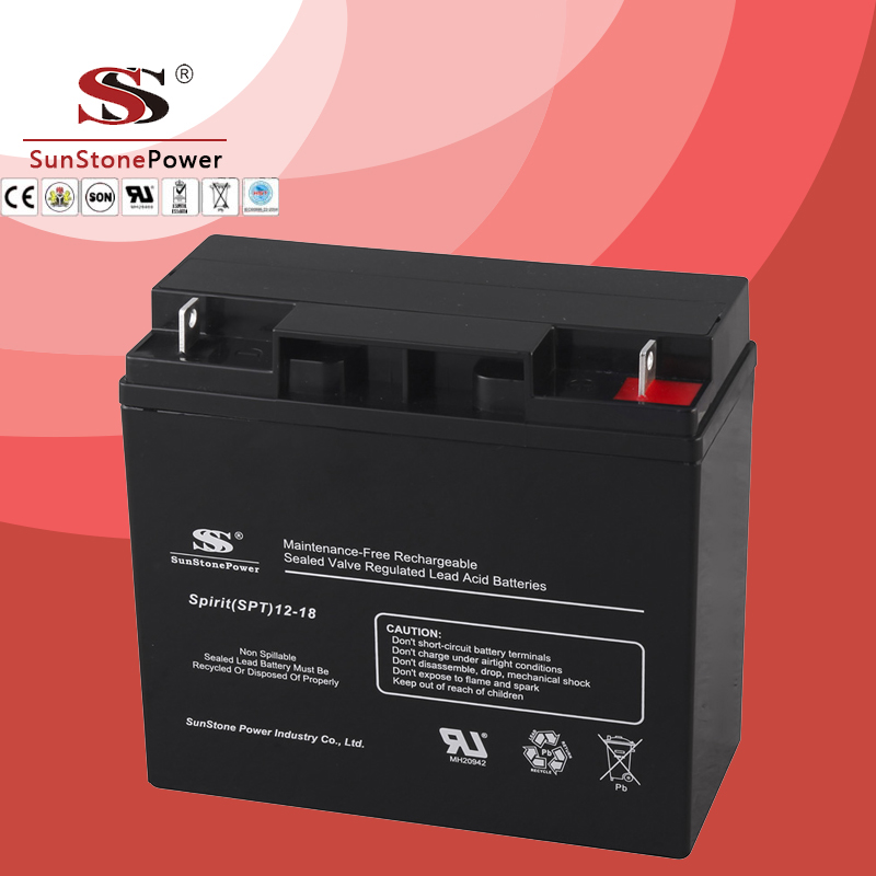 SPT Series 12V18AH Sealed Maintenance Free VRLA/SLA AGM Battery for UPS