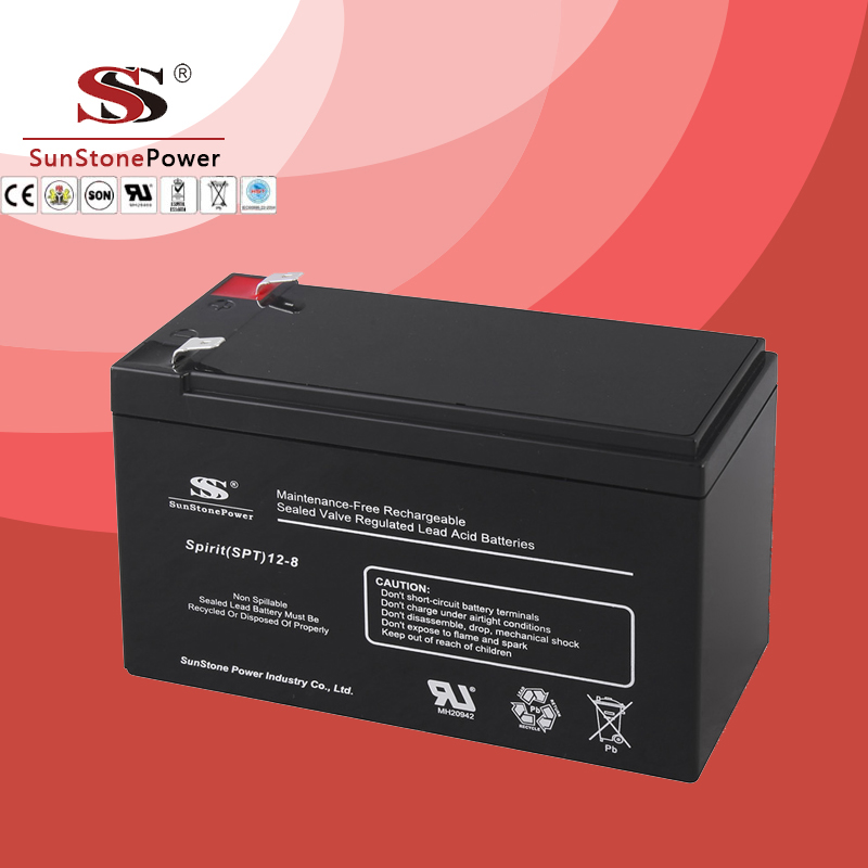 SPT Series 12V8AH Sealed Maintenance Free VRLA/SLA AGM Battery for UPS